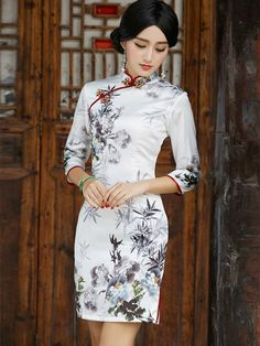 Half Sleeve Qipao / Cheongsam Dress with Print of Chinese Painting