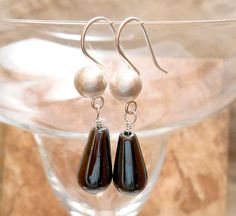 Brushed Sterling Silver with Hematite Teardrop by ByEJewelry, $31.00
