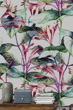 Papel pintado flores - accesorios y decoración del hogar- hecho a mano en DaWanda.es