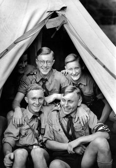 Members of the Hitler Youth (Hitlerjugend) pose for a photograph in their tent during festivities for the 6th Annual National Days of Foreign Germans; a festival held for Hitler Youth who were ethnic German minorities living in other nations (Volksdeutsche) and German citizens who were living abroad (Auslandsdeutsche).Stuttgart, Baden-Württemberg, Germany. July 1938.