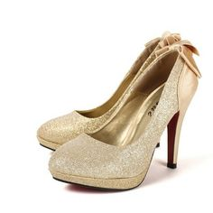 Gold Wedding Shoes that glitter with sequined rounded vamp, gold platform, and bow decorating the heel