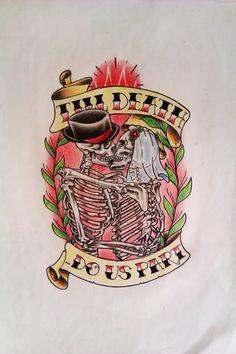 Till Death Do Us Part by Volski on DeviantArt Skull Tattoo Design, Tattoo Design Drawings, Tattoo Designs, Kiss Tattoos, Tattoos Skull, Neck Tattoos, Tatoos, Skull Couple Tattoo, Married Couple Tattoos