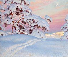 Gustaf Adolf Christensen Fjæstad (1868-1948) —  Sun and Shadow on the Mountains, 1927 (1600×1340)