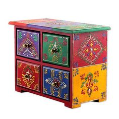 [orginial_title] – nancy schwartz Multicolored Wood Jewelry Box with Four Drawers from India, 'Lucid Rainbow' Wood jewelry box, 'Lucid Rainbow' – Multicolored Wood Jewelry Box with Four Drawers from India Metal Patio Furniture, Hand Painted Furniture, Diy Furniture, Plywood Furniture, Luxury Furniture, Painted Wooden Boxes, Painted Drawers, Estilo India, Diy Dining Room Table