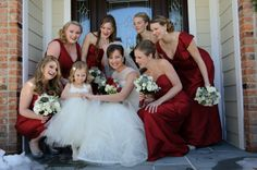 Elegant winter wedding with pops of red and full of romance. Elegant Winter Wedding, Red Wedding, Red Bridesmaid Dresses, Bridesmaids, Red Suit, Winter White, Wedding Vendors, Bridal Style, The Hamptons