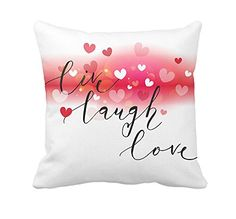 """Live Laugh Love Heart Throw Pillow Case Cushion Cover Cotton Polyester 18 x 18 Inch Valentine's Day Home Decoration Made of 50% cotton, 50% polyester material The pattern is both size,Machine washable. Dimensions: 18"""" x 18"""" / 45cm x 45cm (1-2cm deviation) https://valentines.boutiquecloset.com/product/live-laugh-love-heart-throw-pillow-case-cushion-cover-cotton-polyester-18-x-18-inch-valentines-day-home-decoration/"""
