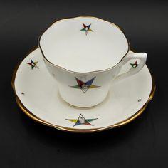 Order Of Eastern Star Tea Cup Saucer Royal Victoria Masonic OES Gold England Vtg #RoyalVictoria