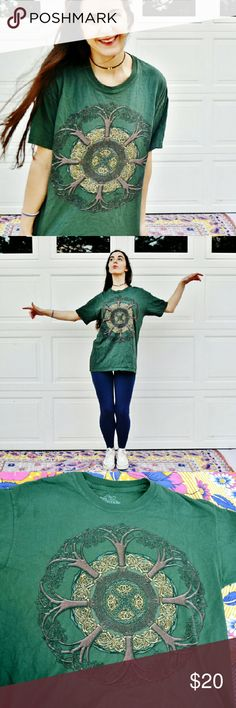 Green Druid Nature Mandala Tee Large DETAILS  Brand is The Mountain.  Size medium.  Idk, just a druid mandala nature type thing. I dig it.?  Good condition, no rips or stains.?  Be the raddest elf at the forest party. Or in Anthropology class.?  In the picture I am summoning the air spirits to create a ton of wind to make my hair all blowy and stuff.?  Just kidding, it was a wind storm, I took my pictures in a storm. the Mountain Tops Tees - Short Sleeve