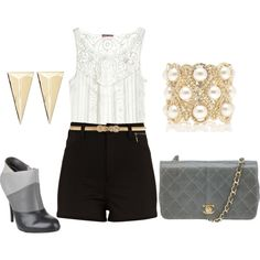 High-Waisted Shorts, Tank, Lace, Booties, Black, White, and Gold