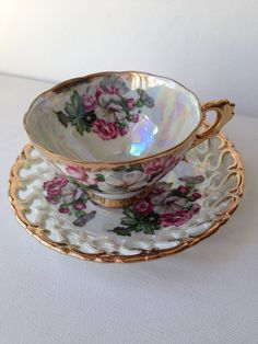 "Vintage Royal Sealy Tea Cup and Saucer Iridescent Tea Cup and Saucer  Iridescent Tea Set with Gold Trim  Floral Pattern Tea Cup. ""Repinned by Keva xo""."