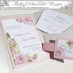 Pretty Pink Roses by MedleysInvitations on Etsy