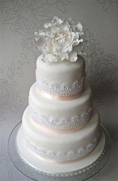 Peony Lace Wedding Cake by Sugar Ruffles, via Flickr