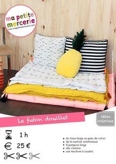DIY : mon futon matelassé et douillet fiche technique futon BD Coin Couture, Baby Couture, Couture Sewing, Futon Diy, Patchwork Patterns, Asian Decor, Diy Furniture, Diy Bench, Decorative Pillows