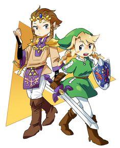 Zelda and Link gender swap fan art?