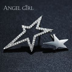 Angel Girl shine Star Shaped Design Cubic Zirconia Party Earrings for Women White Gold Color Stud Earrings fashion jewelry