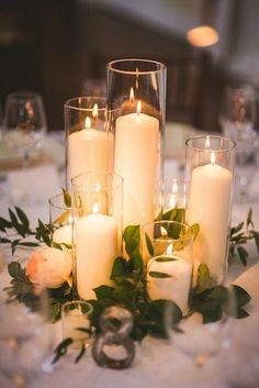 Tall candles/glass vase Greenery Wedding Decor Ideas - Green wedding color ideas [tps_header][/tps_header] Today I'd like to inspire you with adorably fresh neutral wedding ideas that will be amazing for your spring nuptials. Floral Wedding, Wedding Colors, Rustic Wedding, Wedding Flowers, Diy Wedding, Elegant Wedding, Fall Wedding, Wedding Ceremony, Wedding Hair