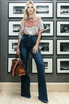 Jeans pants; printed blouse