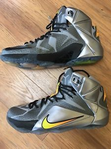 new product f5f29 b78eb Nike LeBron XII Flight Pack Wolf Grey Citrus 684593-080 Size 11 Basketball  Shoes