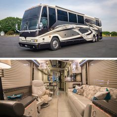 A Prevost Bus conversion is the ultimate luxury motorhome. Marathon is the leader in luxury bus conversions, service and technology. Prevost Coach, Prevost Bus, Interior Motorhome, Marathon Coach, Rv Floor Plans, Fleetwood Rv, Luxury Motorhomes, Rv Bus, Luxury Bus