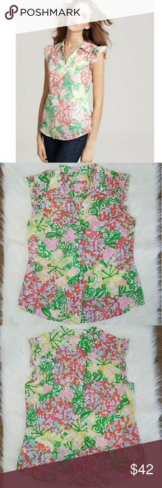 """Lily Pulitzer Dusty Mariposa blouse Size 12 Size 12 blouse in the Dusty Mariposa print. Semi sheer button down with collar and ruffled sleeves. Excellent used condition. Flat lay measurements: Approximately 20.5"""" bust, 15.5"""" from underarm to hem. Lilly Pulitzer Tops"""