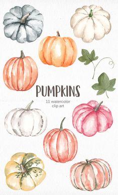 Pumpkin Drawing, Pumpkin Art, Pumpkin Sketch, Halloween Drawings, Halloween Clipart, Autumn Painting, Autumn Art, Watercolor Cards, Watercolor Paintings