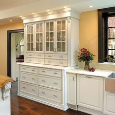 Fieldstone Cabinets for a Traditional Bathroom with a Vanity and Fieldstone Cabinetry in Coastal Living Magazine by Fieldstone Cabinetry Glass Kitchen Cabinet Doors, Custom Kitchen Cabinets, Kitchen Redo, New Kitchen, Kitchen Dining, Kitchen Remodel, Kitchen Ideas, Kitchen Pulls, Pantry Ideas