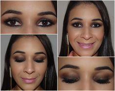 Make com sombra marrom e preta esfumadas mais boca rosa