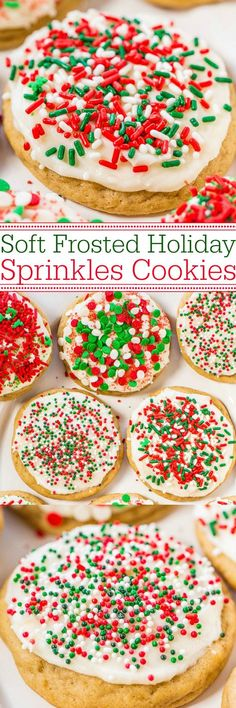 Soft Frosted Holiday Sprinkles Cookies - Tender, buttery cookies topped with cream cheese frosting and loaded with sprinkles!! Easy, no-roll holiday cookies that everyone goes crazy for!!