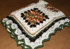 A Fall Afghan done in deep fall shades of browns and greens