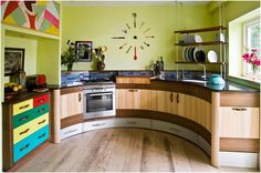 love this colorful kitchen wall clock