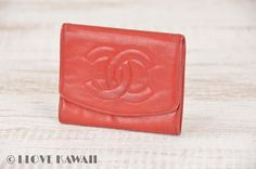 CHANEL Red Leather CC Logo Coin Case