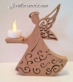 Scroll Saw Patterns :: Lighted projects :: Candle holders & Luminaries :: Angel tea light stand Christmas Wood, Christmas Crafts, Christmas Decorations, Christmas Ornaments, Handmade Christmas, Dyi Crafts, Wooden Crafts, Wood Projects, Woodworking Projects