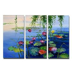 Beautiful Water Lilies Oil Painting - Set of 3 - Free Shipping