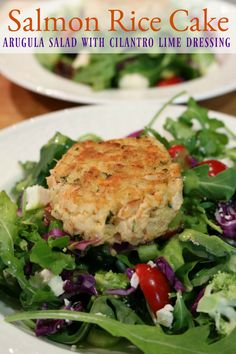 Arugula Summer Salad with Cilantro Lime Dressing - Gluten Free Salmon Cakes are easy to make. Serve over mixed greens for a lunch or a light dinner meal or as an appetizer!   CeceliasGoodStuff.com | Good Food for Good People