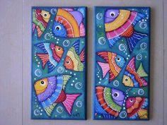 Dot Painting, Fabric Painting, Painting & Drawing, Wal Art, Sea Life Art, Atelier D Art, Animal Decor, Fish Art, Painting Inspiration