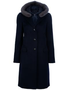 Fay Buttoned hooded coat