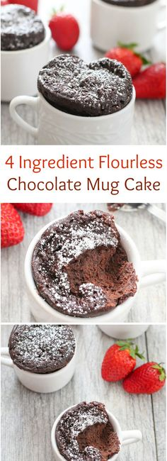 4 Ingredient Flourless Chocolate Mug Cake. So easy and perfect for Valentine's Day! 4 Ingredient Flourless Chocolate Mug Cake. So easy and perfect for Valentine's Day! Desserts Keto, Gluten Free Desserts, Just Desserts, Delicious Desserts, Yummy Food, Mug Recipes, Sweet Recipes, Cake Recipes, Dessert Recipes