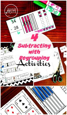 Practice subtracting with regrouping using task cards, a game, cut and paste activities, and a file folder activity. Division Activities, Father's Day Activities, File Folder Activities, Counting Activities, Folder Games, Homeschool Blogs, Homeschooling, Stem For Kids, Adding And Subtracting