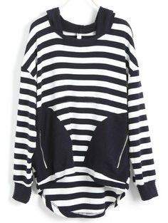 Navy White Striped Zipper Asymmetrical Sweatshirt