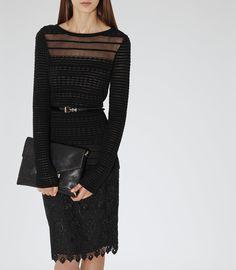 Reiss Mulan Women's Black Wool Sheer Detailtop