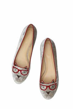 Cat shoes!! with glasses! #refinery29 http://www.refinery29.com/2014/07/71191/charlotte-olympia-kitty-and-co#slide1