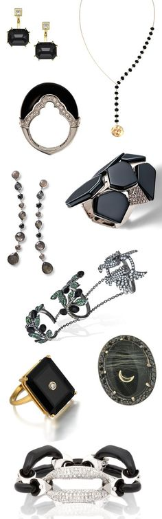 Jewelry's darkest gemstone is shining bright! Black onyx is one of this season's jewelry trends - see WWD.com for brands. [Photos: Courtesy]