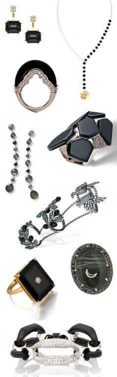 Jewelry's darkest gemstone is shining bright! Black onyx is one of this season's jewelry trends - see WWD.com for brands. [Photos: Courtesy]
