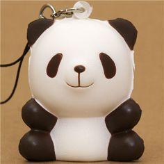 dark brown panda bear squishy cellphone charm kawaii
