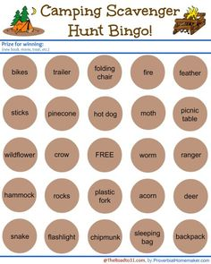 Camping Scavenger Hunt BINGO Game - The Road To 31