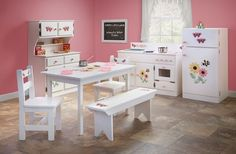 COMPLETE KITCHEN PLAY SET - Amish Handmade White with Adorable Stencils