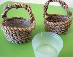 Little homemade baskets to hold berries! Made from disposable drinking cups cut down to size and some box cording.