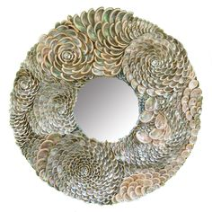 Hundreds and hundreds of hand placed silvery, iridescent abalone seashells form thisuniquely beautiful mirror. 33″ Diameter