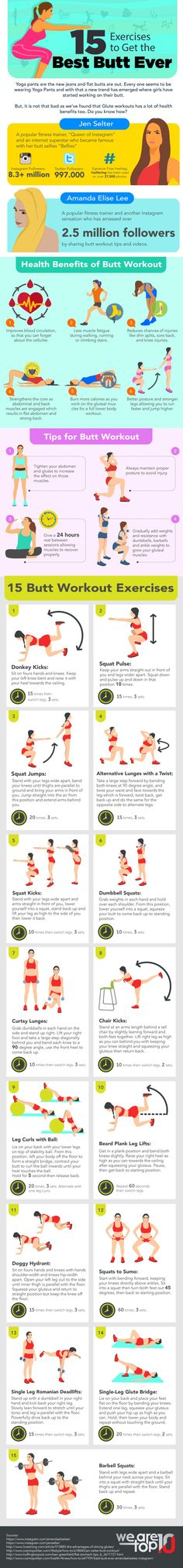 15 Exercises to Get the Best Butt Ever #Infographic