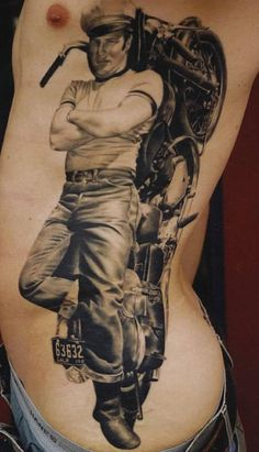 Megan Hoogland - James Dean rib tattoo
